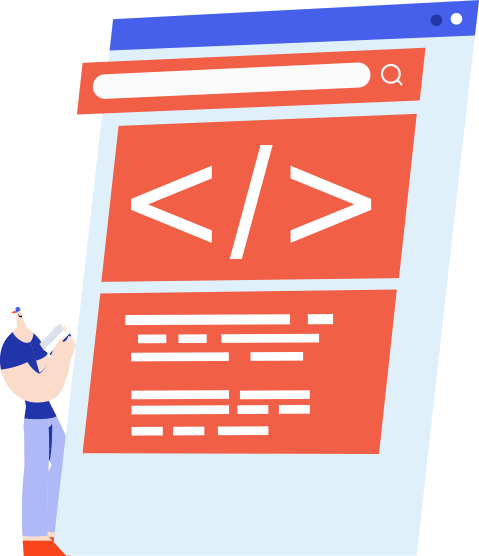 Vector illustration of developer creating a webpage