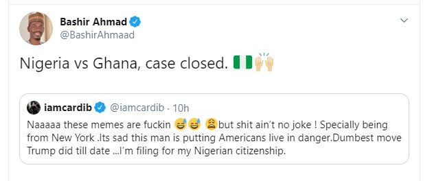 Presidential aides react as rapper Cardi B seeks Nigerian citizenship over Trump's attack on Iran
