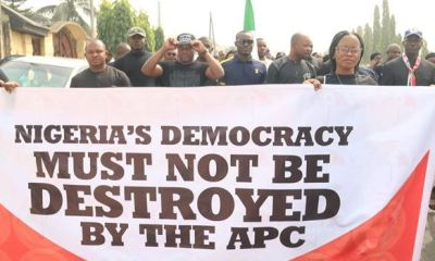 PDP members hit the streets of Owerri, others, protest Ihedioha's sack, wants CJN dismissed