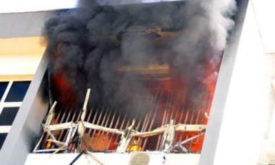 JUST IN: INEC headquarters on fire