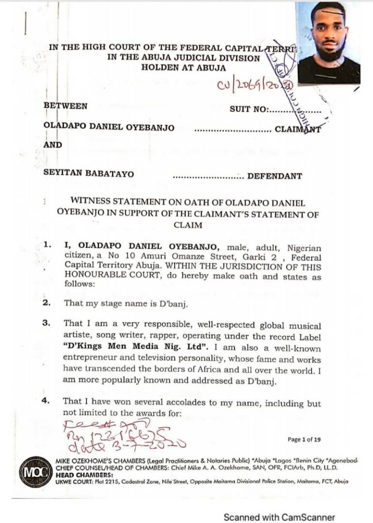 ALLEGED R*PE: D'Banj files N1.5bn suit against his accuser Ms Babatayo, demands letter of apology