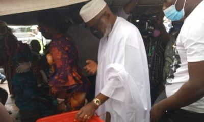 Gov Akeredolu, wife cast their votes