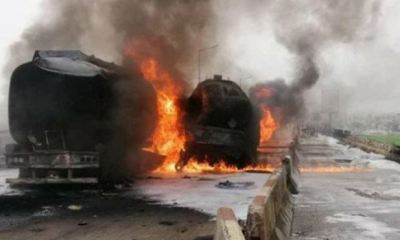 Fuel-tanker fire causes gridlock on Lagos-Ibadan Expressway