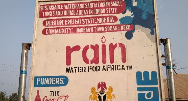 One of the signboards in Isi Uzo bearing details of the water project