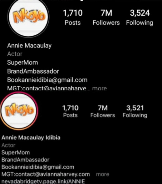 Annie adds 'Idibia' back to her IG bio after meltdown