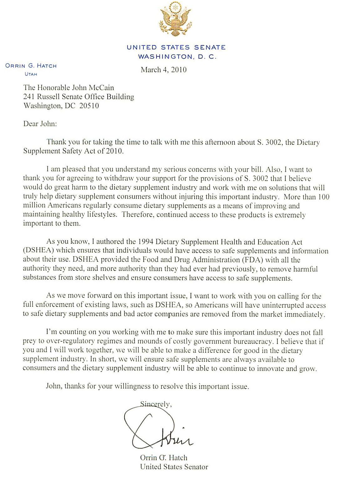 Orrin Hatch Letter To John McCain About S 3002 Citizens