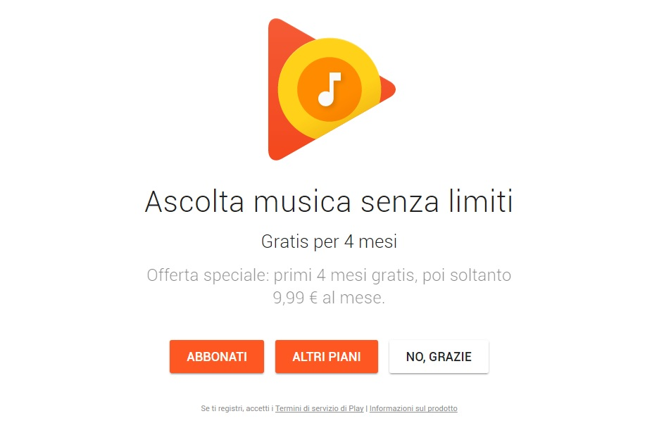 Google Play Music gratis per 4 mesi