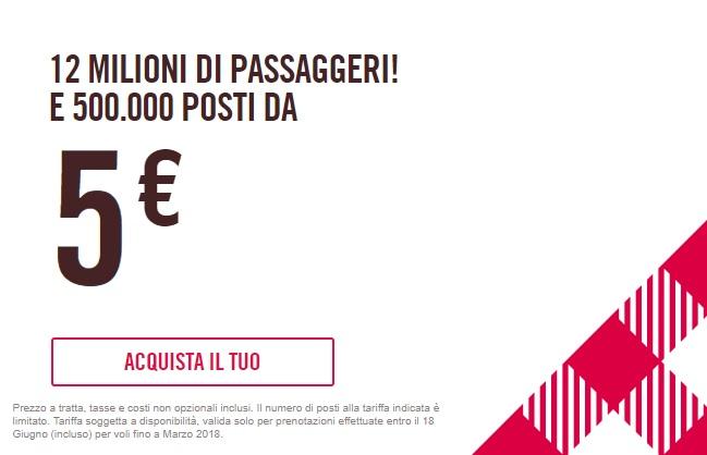 Volotea: 500000 posti da 5 Euro per tratta