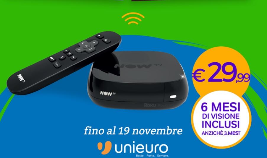 Sky NowTV Box + 6 mesi di visione gratuita a 29,99 Euro