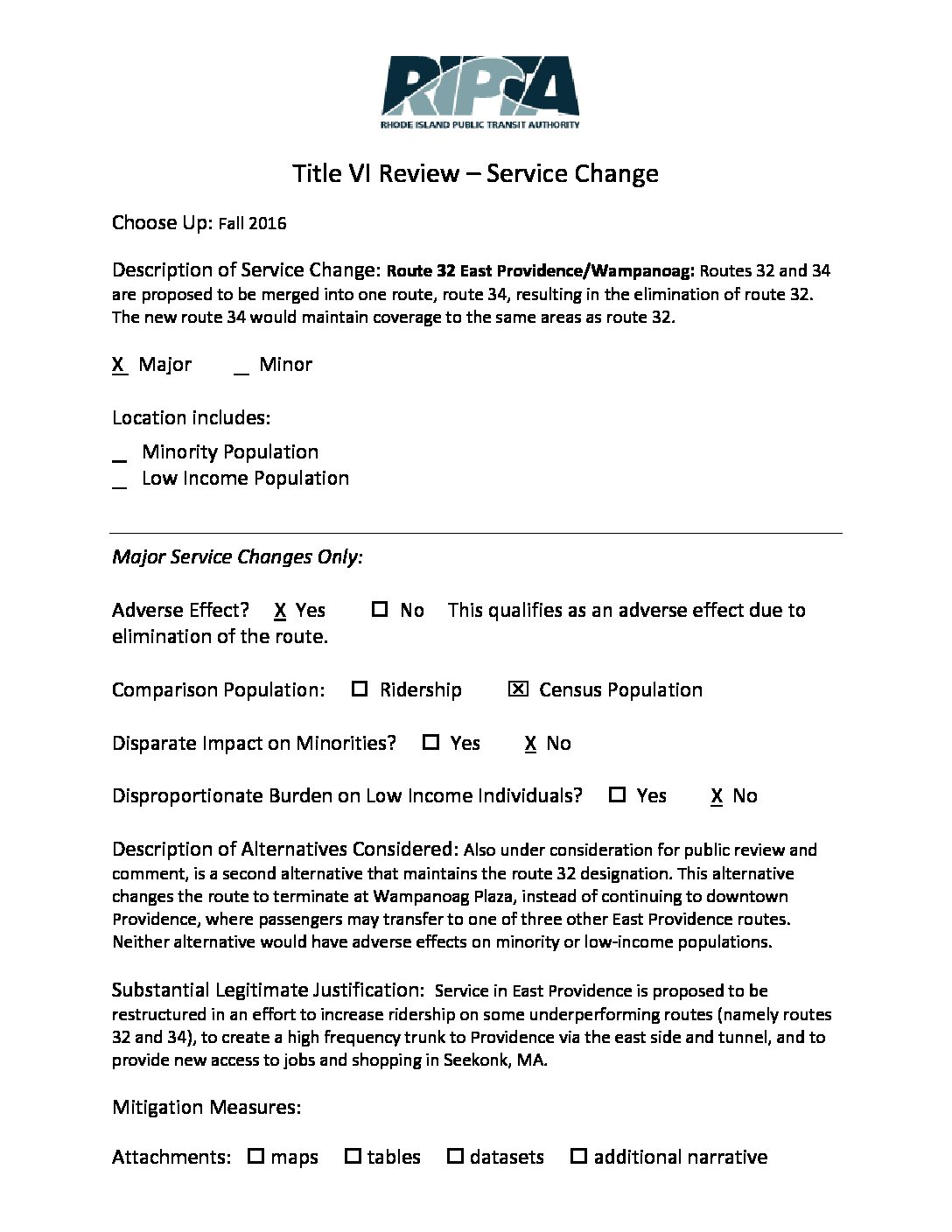 Title Vi Review Worksheets Fall Service Changes