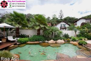 Jasa Kolam Hias & Minimalis Ikan Koi kolam batu alam surabaya gresik sidoarjo Jasa Tukang Kolam Koi Hias Air Terjun Minimalis Surabaya