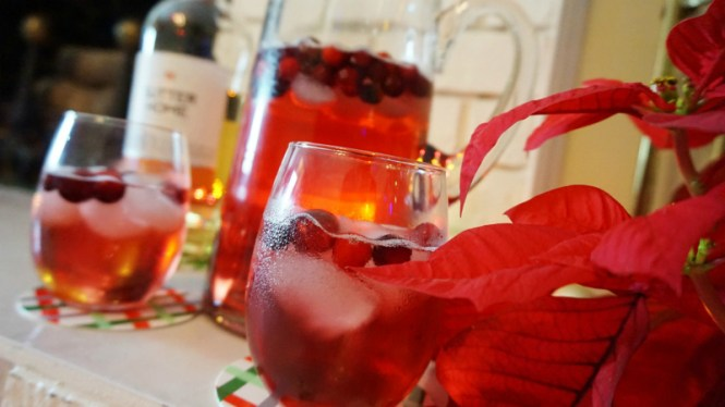 Poinsettia Spritzers Sutter Home Moscato Holiday Drink