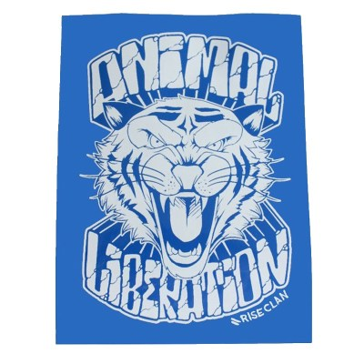 animal liberation tiger sticker blue