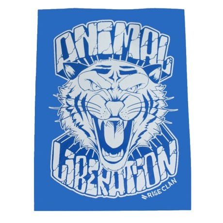 animal liberation tiger sticker blue