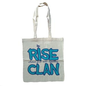 rise clan blue tote bag