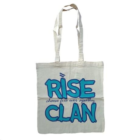 rise clan blue tote bag