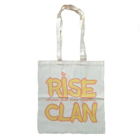 rise clan yellow orange tote bag natural