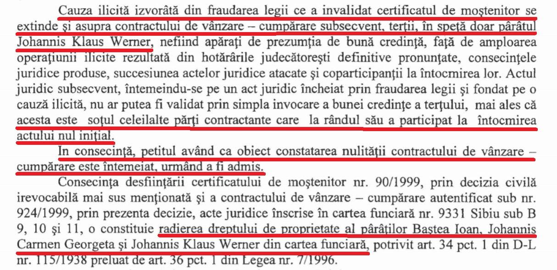 Extras din decizia Tribunalului Brașov, pronunțată în mai 2014, prin care se dispune anularea titlului de proprietate al familiei Ioahnis pentru clădirea de pe Strada Nicolae Bălcescu nr. 29.