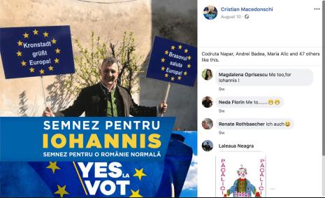 Cristian Macedonschi este consilier local în Brașov și susținător al lui Klaus Iohannis. Foto: Facebook