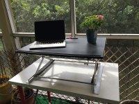 RiseUP Standing Desk on patio
