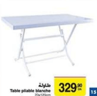 promotion table pliable blanche