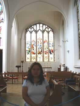 Angela at church in Aberdeen