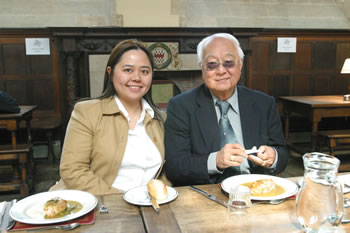 Master and student - Grandmaster Yap and Angela enjoy lunchtime in the halls