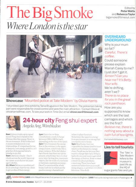 Time Out London Feng Shui feature on Master Angela Ang