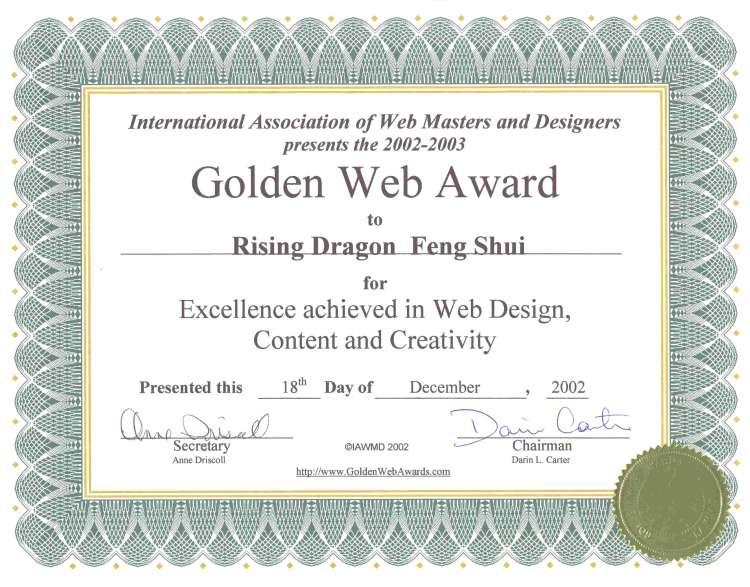 Golden Web Award Winner Certificate