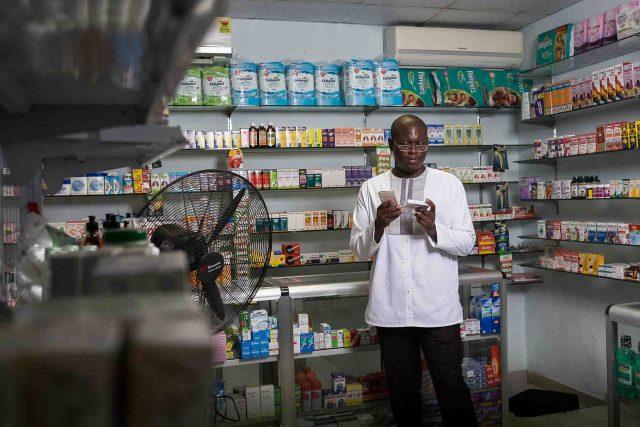 Simons at a pharmacy on Drug Lane in Accra, Ghana. Photographer: Nana Kofi Acquah