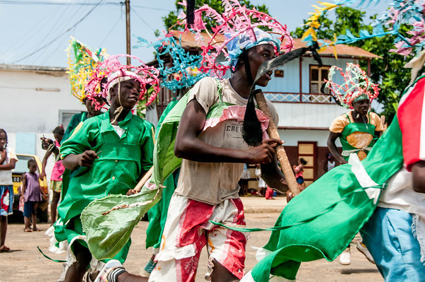 Sao Tome local dancers performing a dance from the Congo