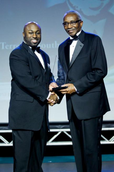 Terrence Southern, pictured with Eugene M. DeLoatch, dean of the Morgan State University School of Engineering, won two awards at the annual Black Engineer of the Year STEM Awards Conference.  COURTESY BEYA STEM AWARDS CONFERENCE
