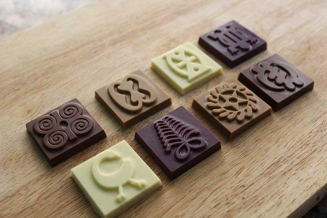 '57 Chocolate with Adinkra symbols