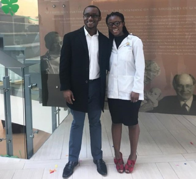 Nancy Abu-Bonsrah with her husband, Kwabena Yamoah at Johns Hopkins Armstrong Medical Education Building. Photo: Nancy Abu-Bonsrah/Facebook