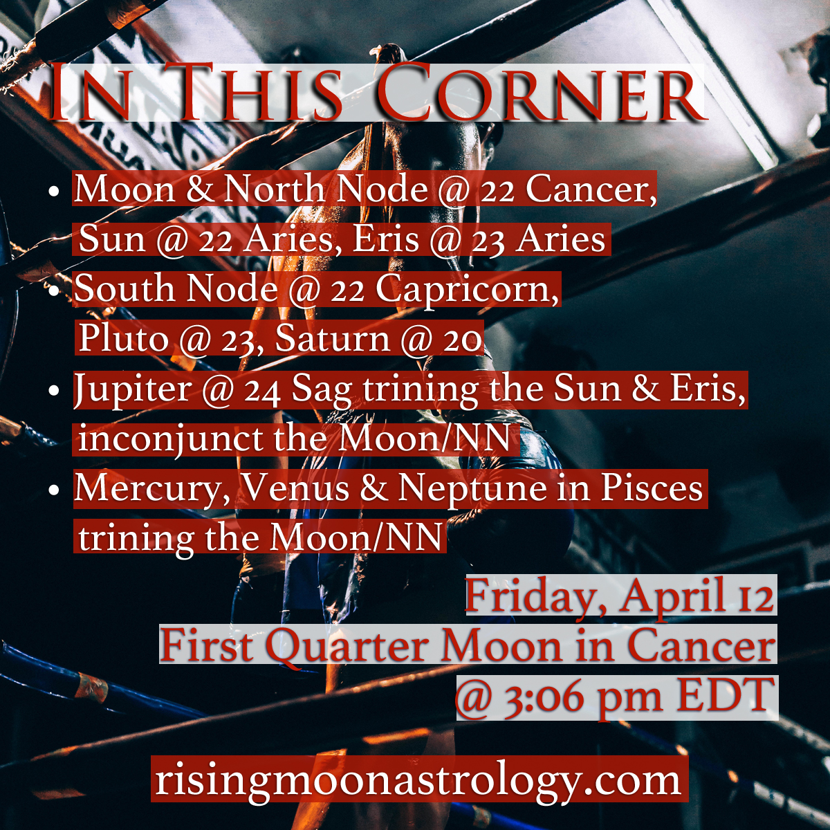First Quarter Moon in Cancer: In This Corner …