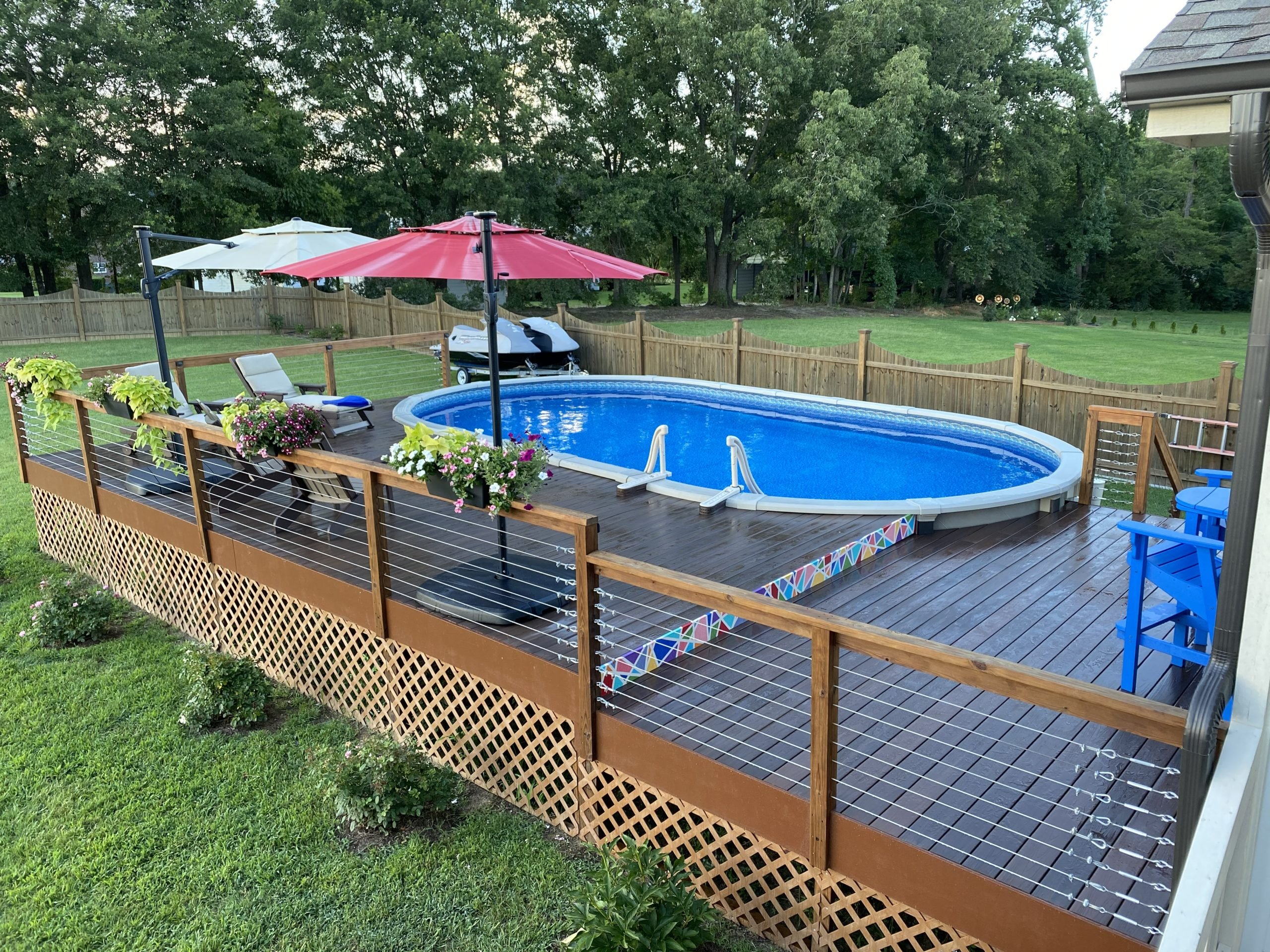 A wood deck around an above ground swimming pool. Rising Sun Pools Spas Aboveground Pools Raleigh S Pool Experts