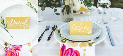 Yellow and white wedding inspiration with calligraphy place cards
