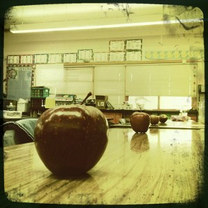 Apples on desks