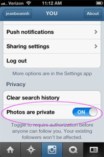Instagram privacy settings