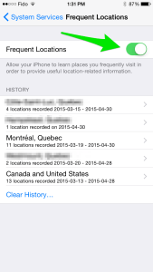 iPhone Frequent Locations settings kids