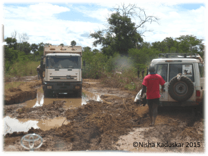 Jambo, South Sudan, trucks, mud, standing water, Toyota, SEM, SCIAF