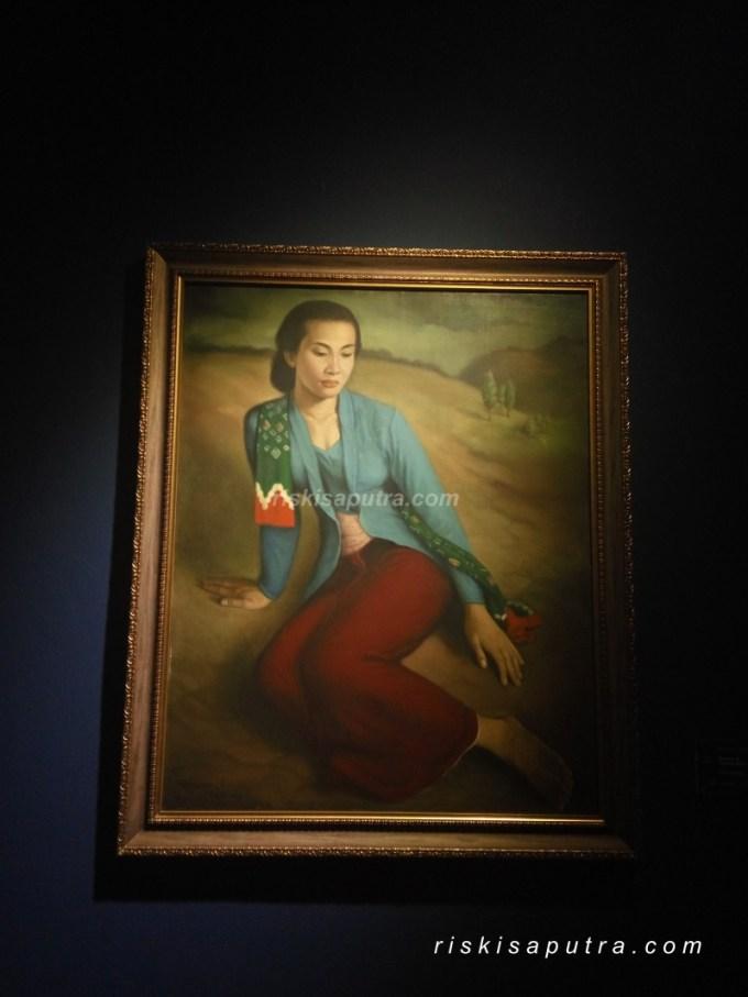 Lukisan Wanita Kebaya Biru