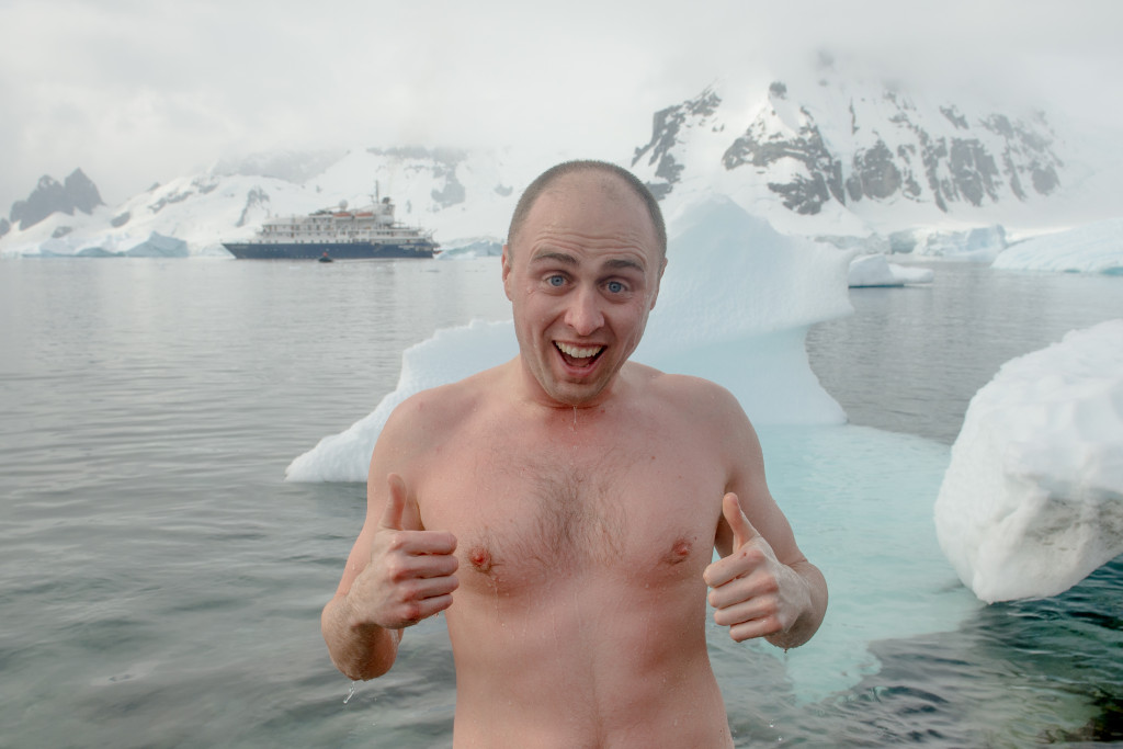 Me, just after taking a polar plunge. The water was -1 degrees C!