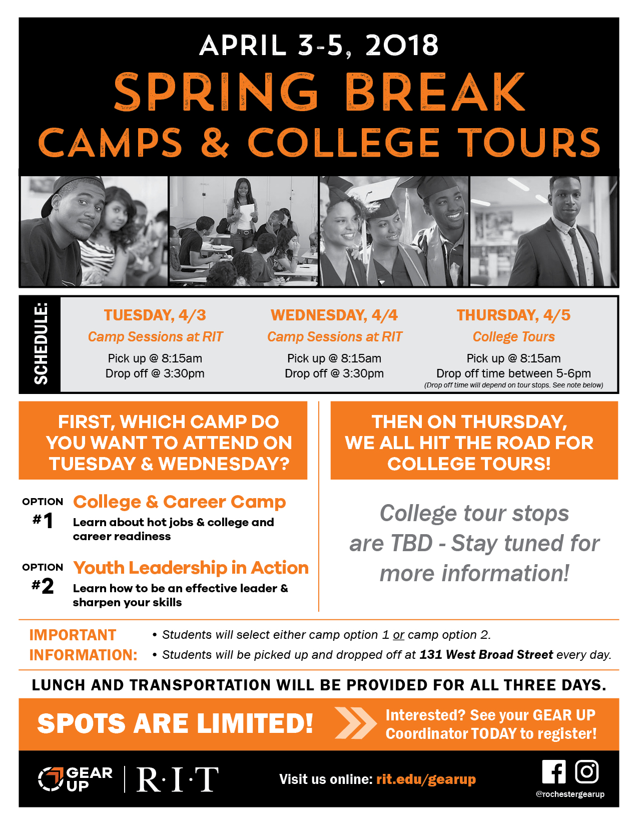 Spring Break Camps & College Tours – RIT GEAR UP