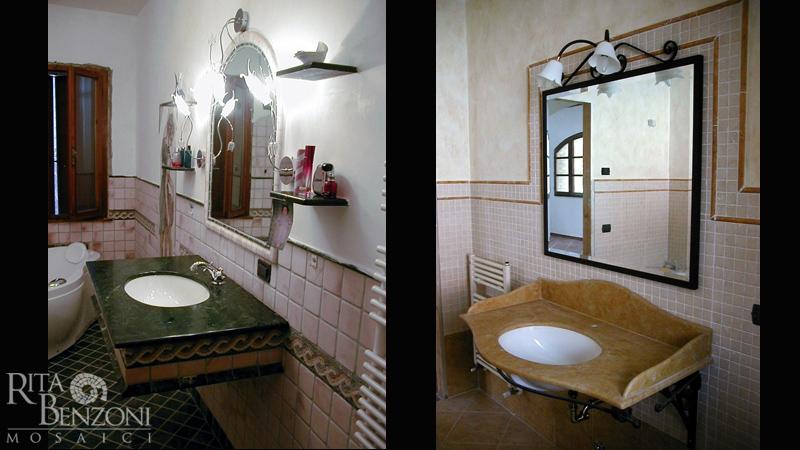 Stanze da bagno in marmo e mosaico rivestimento e decorazione