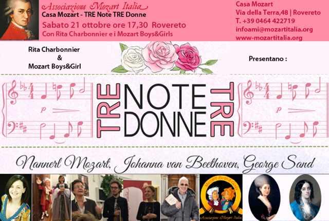 «Tre note, tre donne» a Rovereto, Casa Mozart