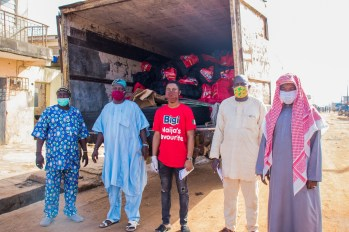 Leaders of the communities ready to deliver packages to families