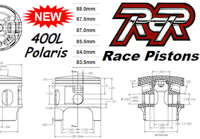400L Polaris Race Pistons from Ritter Cycle Racing Inc