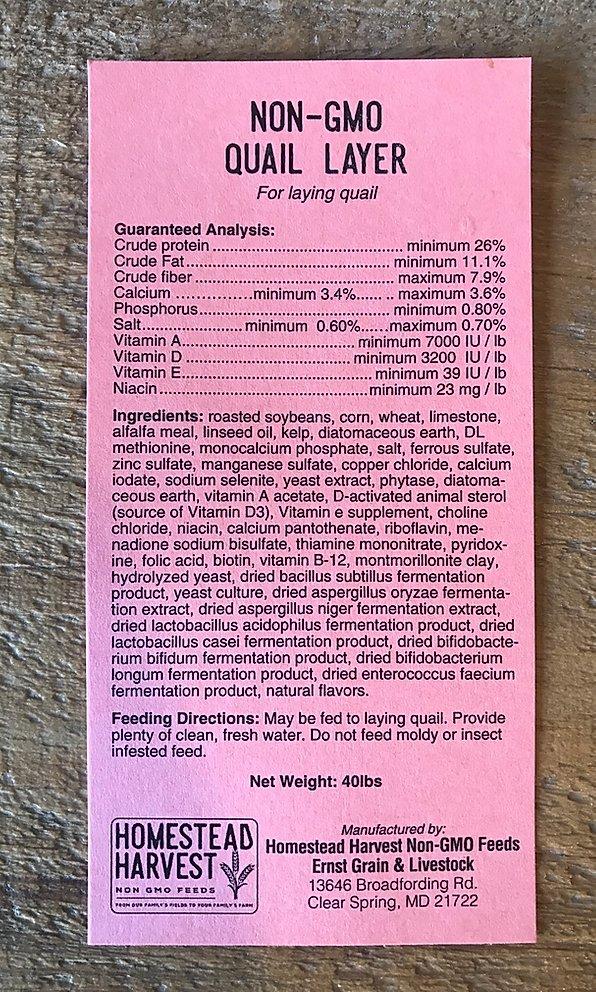 Non-GMO Quail Layer Ingredients
