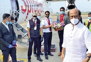 Rajinikanth Leaves For Hyderabad For Annaatthe Shoot